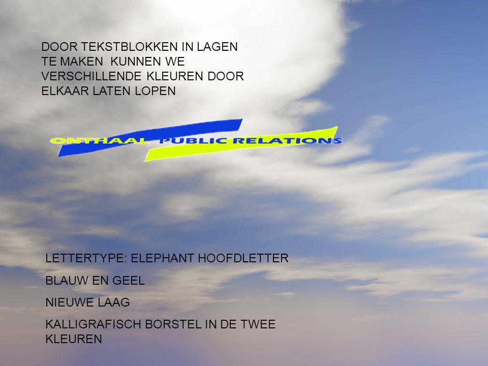 LETTERTYPE: ELEPHANT HOOFDLETTER BLAUW EN GEEL NIEUWE LAAG KALLIGRAFISCH BORSTEL IN DE TWEE KLEUREN DOOR TEKSTBLOKKEN IN LAGEN TE MAKEN KUNNEN WE VERSCHILLENDE KLEUREN DOOR ELKAAR LATEN LOPEN