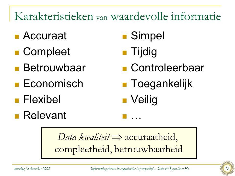 dinsdag 16 december 2008 Informatiesystemen in organisaties in perspectief :: Stair & Reynolds :: H1 13 Karakteristieken van waardevolle informatie Ac