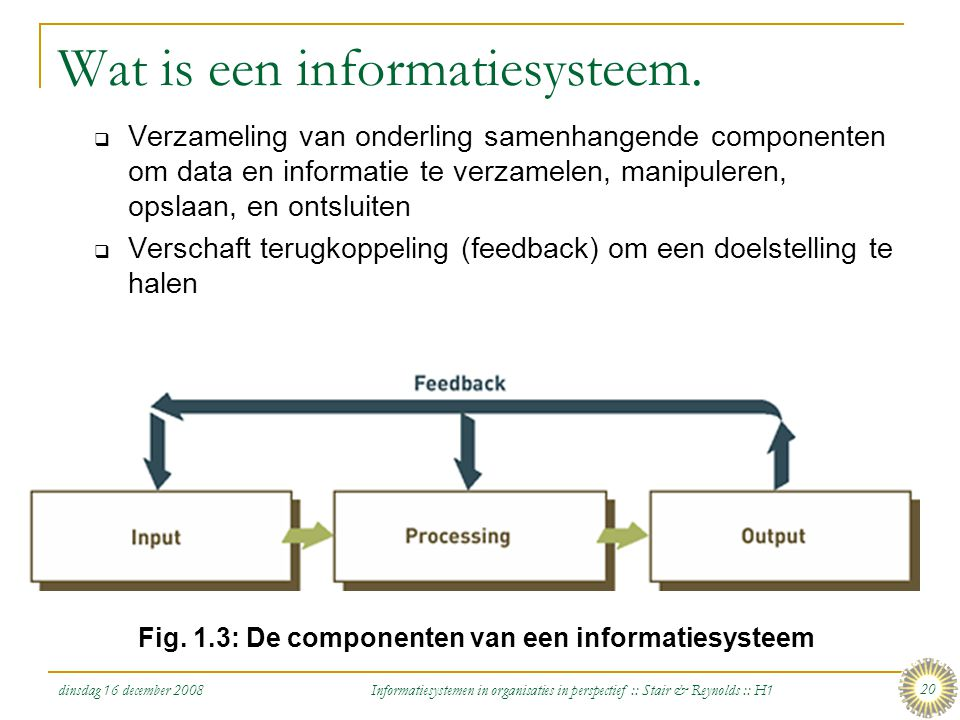 dinsdag 16 december 2008 Informatiesystemen in organisaties in perspectief :: Stair & Reynolds :: H1 20 Wat is een informatiesysteem.  Verzameling va
