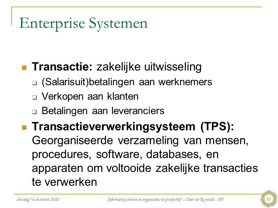 dinsdag 16 december 2008 Informatiesystemen in organisaties in perspectief :: Stair & Reynolds :: H1 35 Enterprise Systemen Transactie: zakelijke uitw