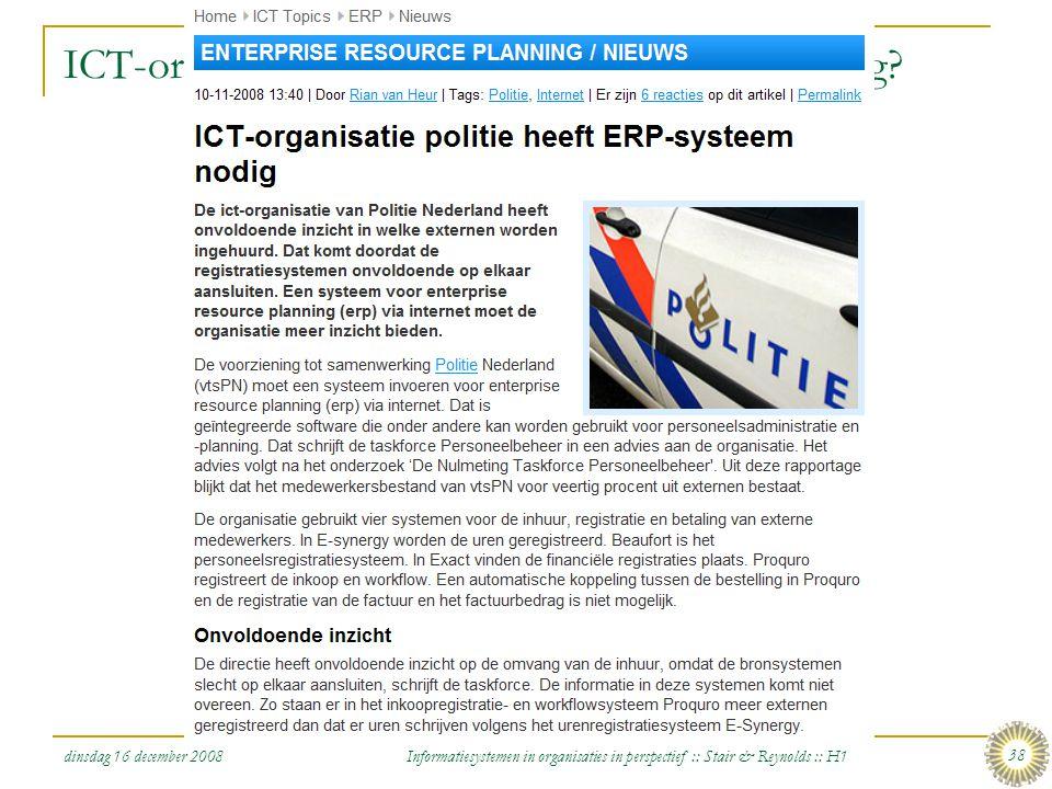 dinsdag 16 december 2008 Informatiesystemen in organisaties in perspectief :: Stair & Reynolds :: H1 38 ICT-organisatie politie heeft ERP-systeem nodi