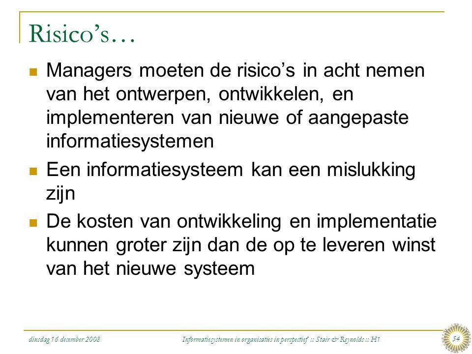 dinsdag 16 december 2008 Informatiesystemen in organisaties in perspectief :: Stair & Reynolds :: H1 54 Risico's… Managers moeten de risico's in acht