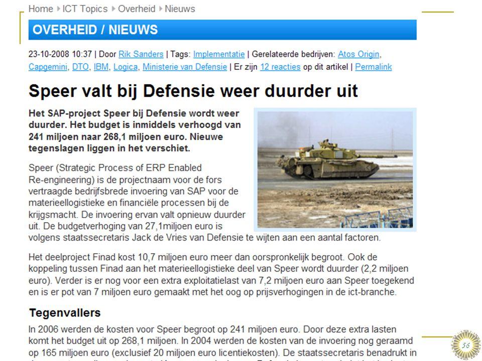 dinsdag 16 december 2008 Informatiesystemen in organisaties in perspectief :: Stair & Reynolds :: H1 56 Speer valt bij Defensie weer duurder uit