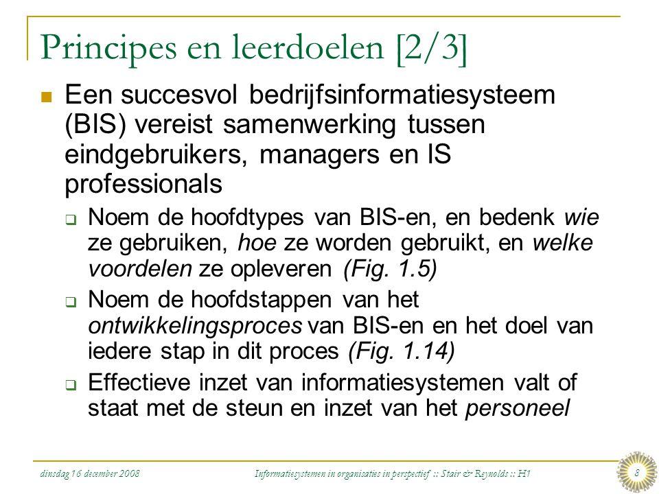 dinsdag 16 december 2008 Informatiesystemen in organisaties in perspectief :: Stair & Reynolds :: H1 8 Principes en leerdoelen [2/3] Een succesvol bed
