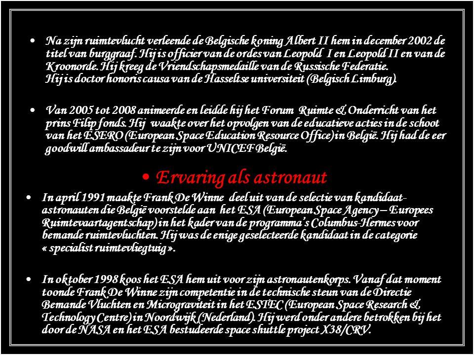 Onderscheidingen - titels President van de Vluchtpersoneelsvereniging van de Belgische luchtmacht. Frank De Winne heeft meer dan 2.300 vluchturen met