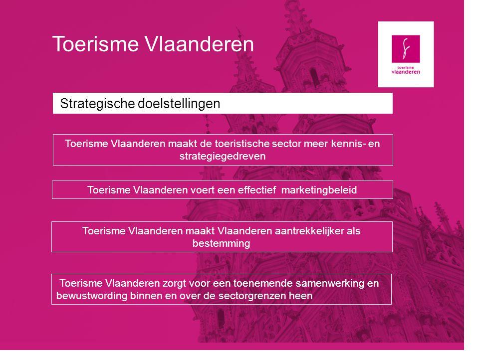 Toerisme Vlaanderen Strategische doelstellingen Toerisme Vlaanderen maakt de toeristische sector meer kennis- en strategiegedreven Toerisme Vlaanderen