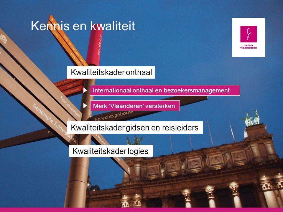 Kennis en kwaliteit Kwaliteitskader onthaal Internationaal onthaal en bezoekersmanagement Merk 'Vlaanderen' versterken Kwaliteitskader gidsen en reisl
