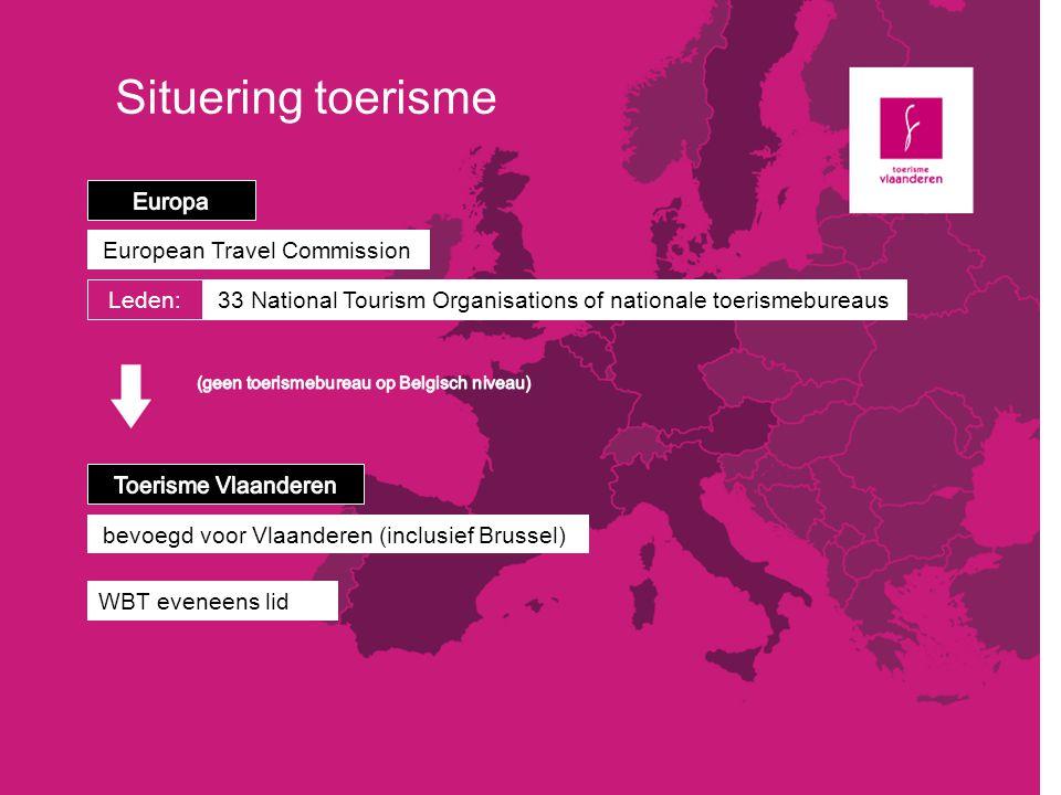 Situering toerisme European Travel Commission Leden: 33 National Tourism Organisations of nationale toerismebureaus bevoegd voor Vlaanderen (inclusief
