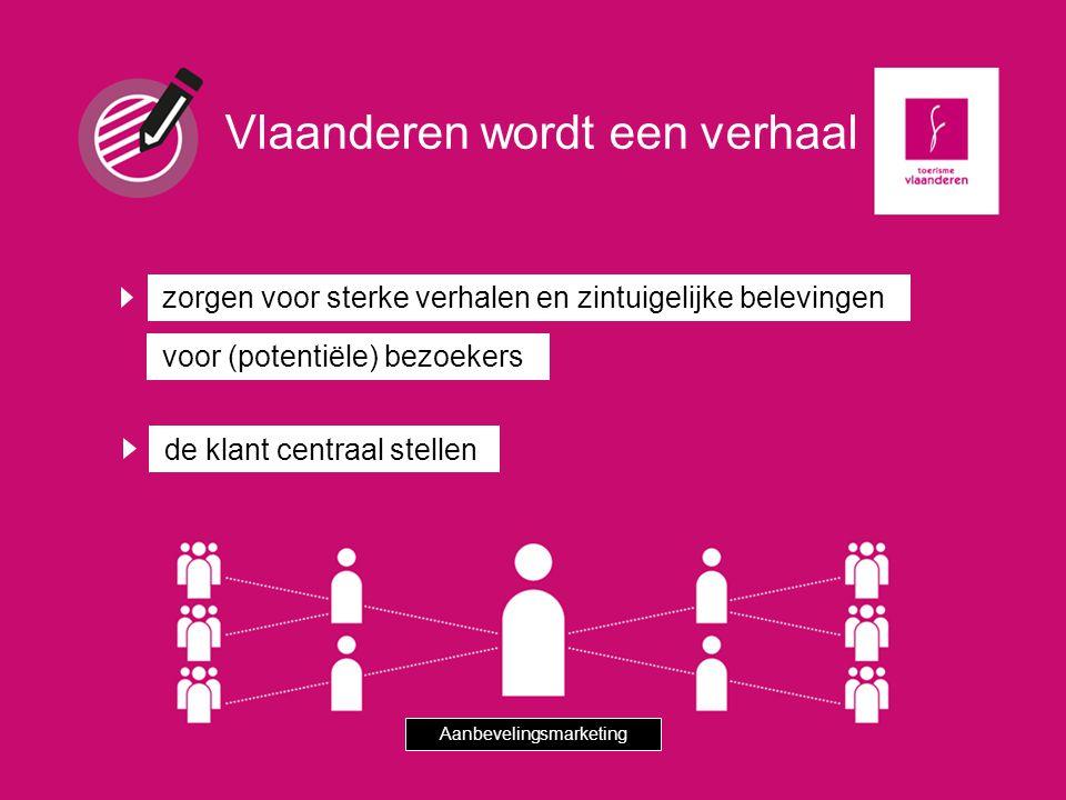 zorgen voor sterke verhalen en zintuigelijke belevingen de klant centraal stellen Vlaanderen wordt een verhaal Aanbevelingsmarketing voor (potentiële)
