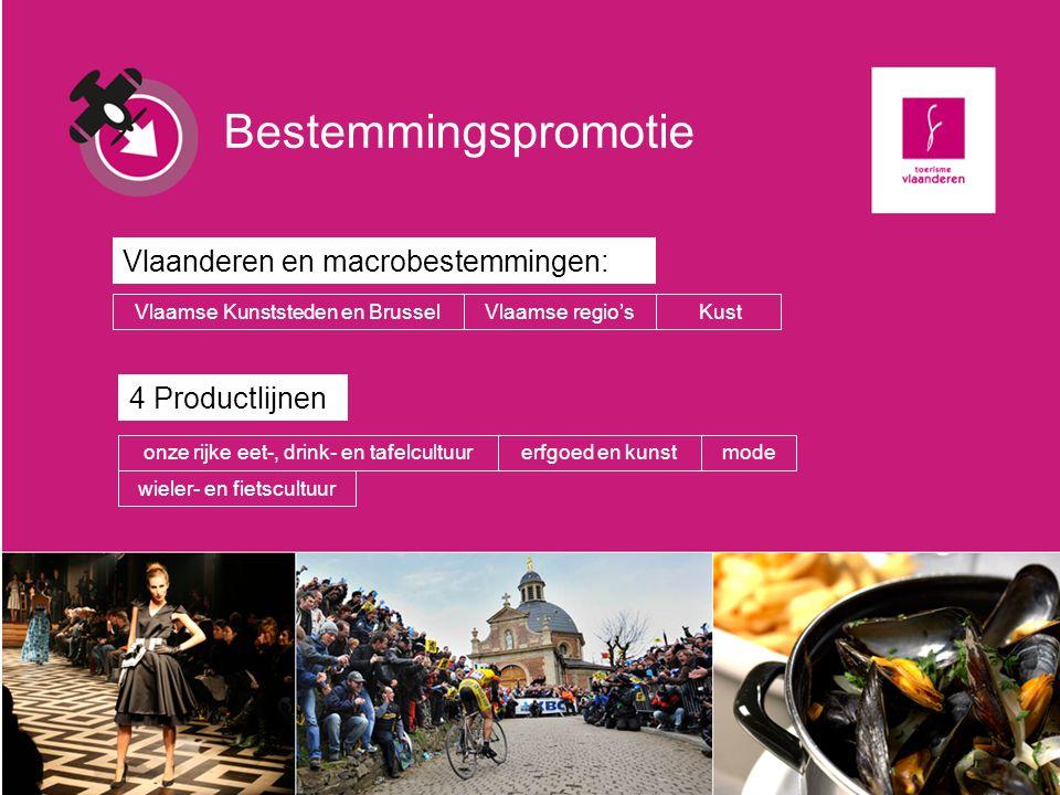Bestemmingspromotie Vlaanderen en macrobestemmingen: KustVlaamse Kunststeden en BrusselVlaamse regio's 4 Productlijnen onze rijke eet-, drink- en tafe