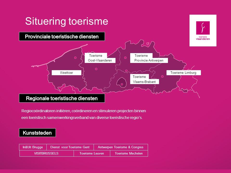 Situering toerisme WesttoerToerisme Limburg Vlaams-Brabant Oost-Vlaanderen Toerisme Provincie Antwerpen Toerisme Regiocoördinatoren initiëren, coördin