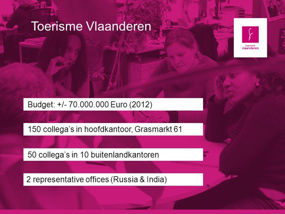 Toerisme Vlaanderen Budget: +/- 70.000.000 Euro (2012) 150 collega's in hoofdkantoor, Grasmarkt 61 50 collega's in 10 buitenlandkantoren 2 representat