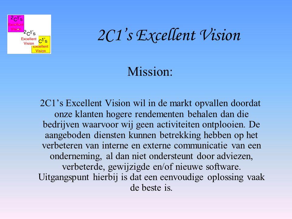 Mission: 2C1's Excellent Vision wil in de markt opvallen doordat onze klanten hogere rendementen behalen dan die bedrijven waarvoor wij geen activiteiten ontplooien.