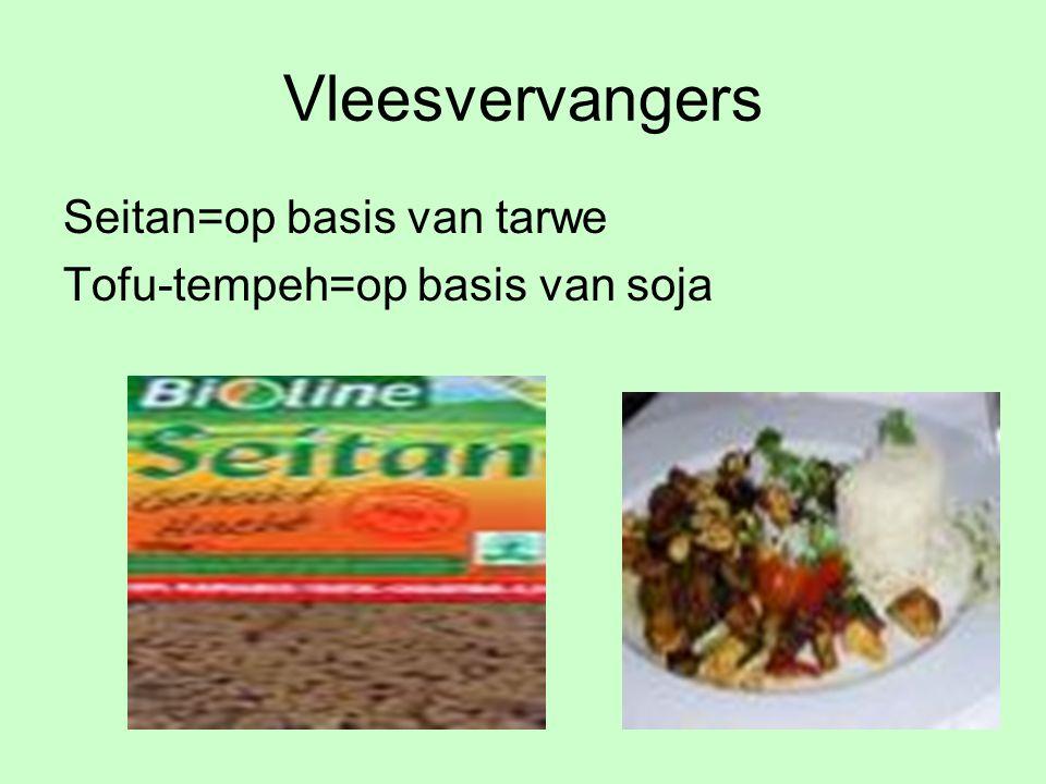Vleesvervangers Seitan=op basis van tarwe Tofu-tempeh=op basis van soja