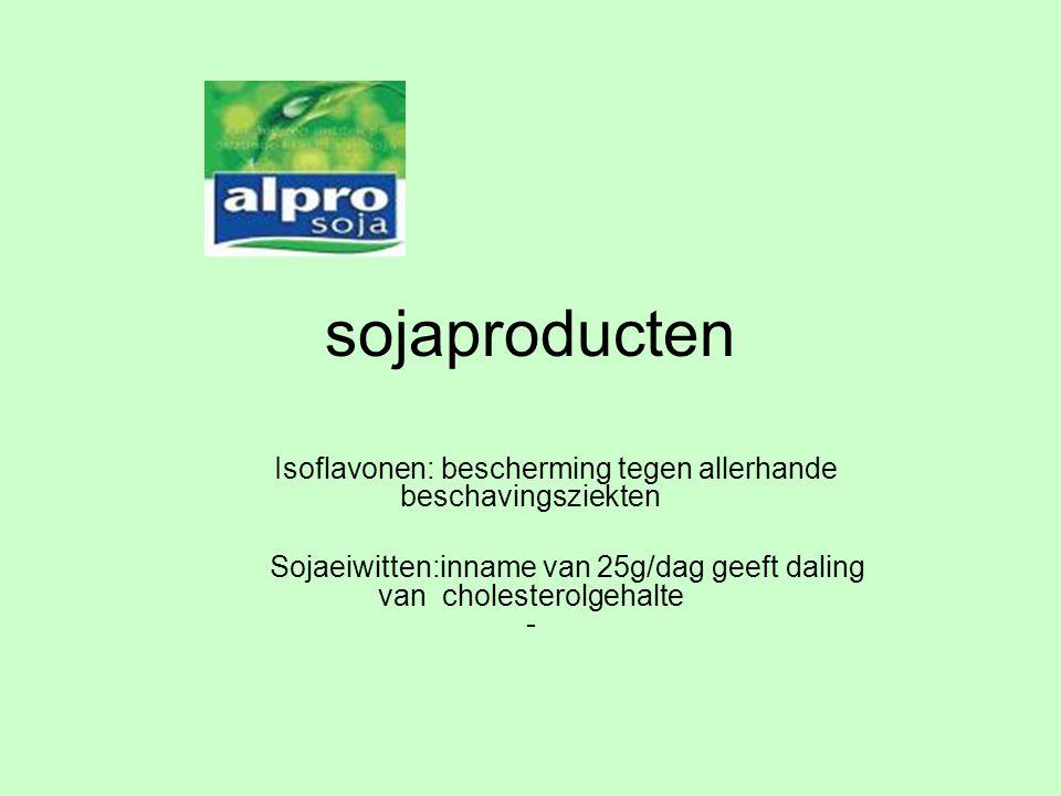 sojaproducten Isoflavonen: bescherming tegen allerhande beschavingsziekten Sojaeiwitten:inname van 25g/dag geeft daling van cholesterolgehalte -