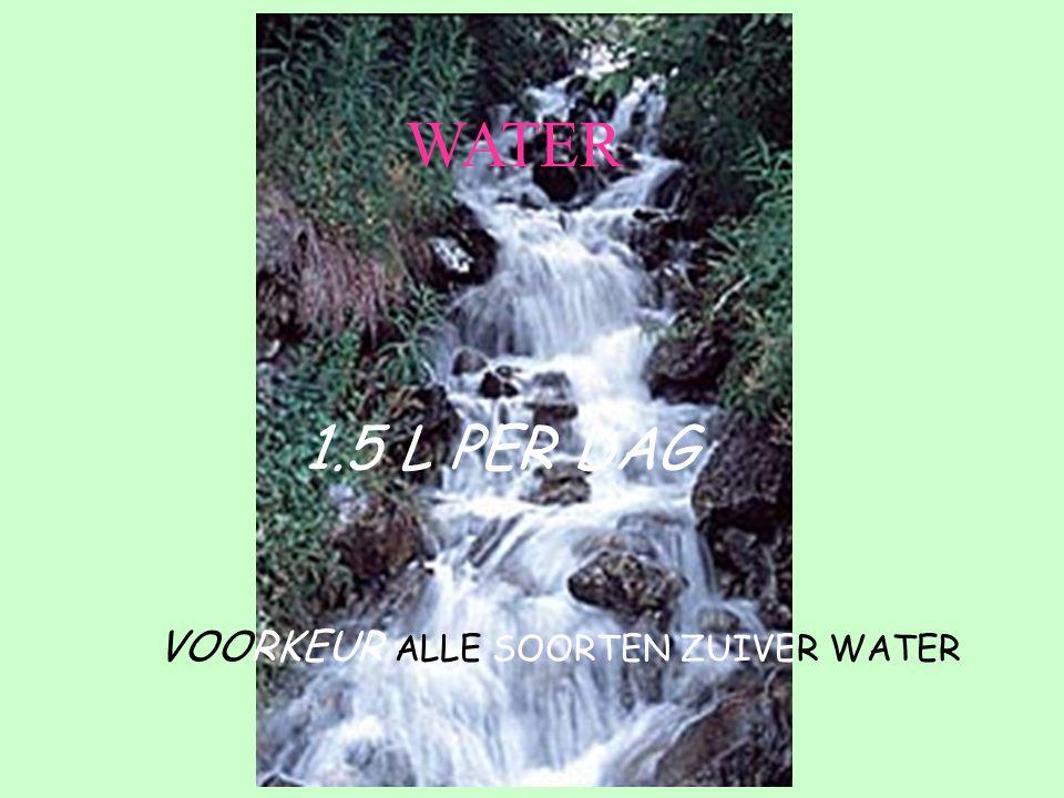 1.5 L PER DAG VOORKEUR ALLE SOORTEN ZUIVER WATER WATER