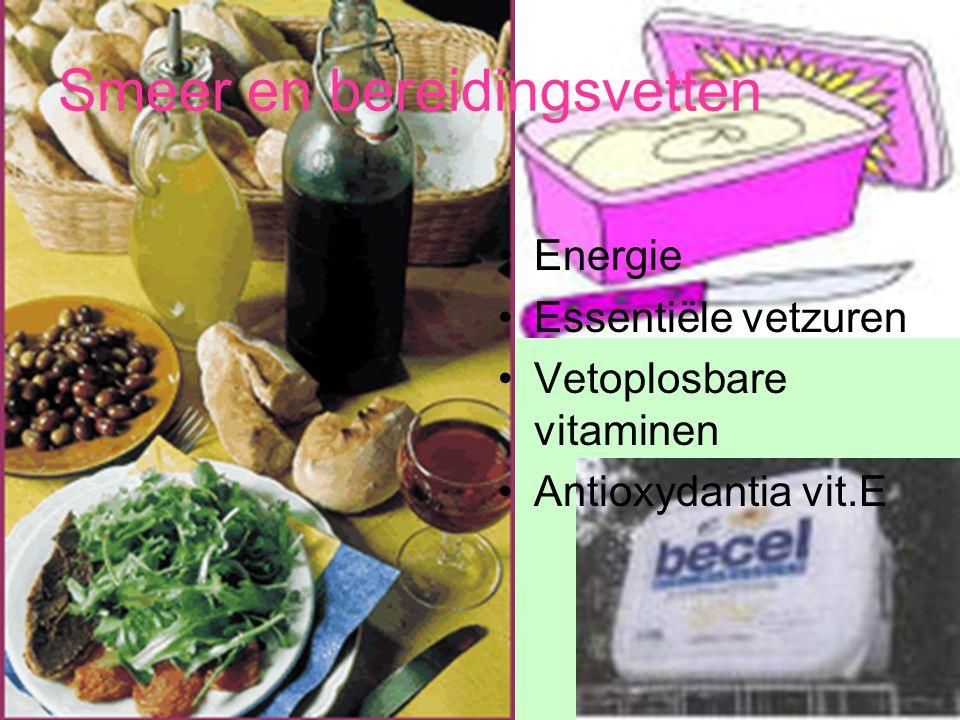 Energie Essentiële vetzuren Vetoplosbare vitaminen Antioxydantia vit.E Smeer en bereidingsvetten