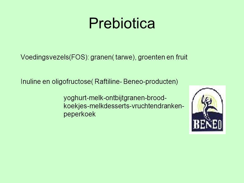 Prebiotica Voedingsvezels(FOS): granen( tarwe), groenten en fruit Inuline en oligofructose( Raftiline- Beneo-producten) yoghurt-melk-ontbijtgranen-bro
