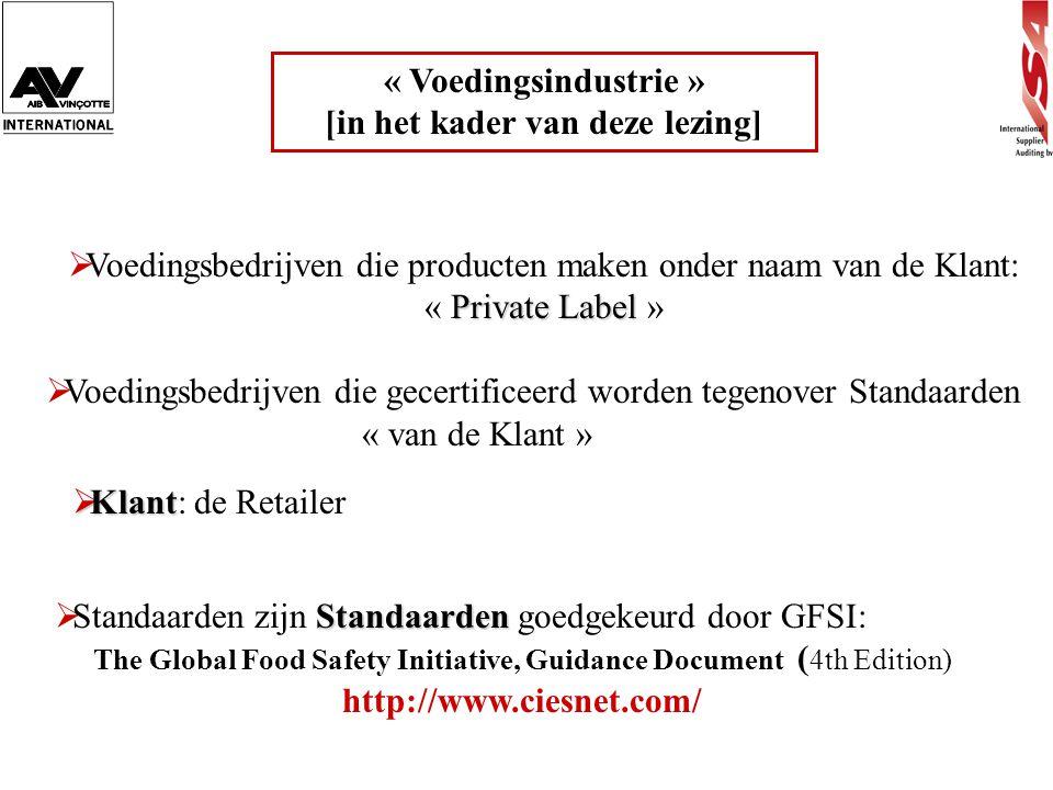 « Voedingsindustrie » [in het kader van deze lezing] Private Label  Voedingsbedrijven die producten maken onder naam van de Klant: « Private Label »