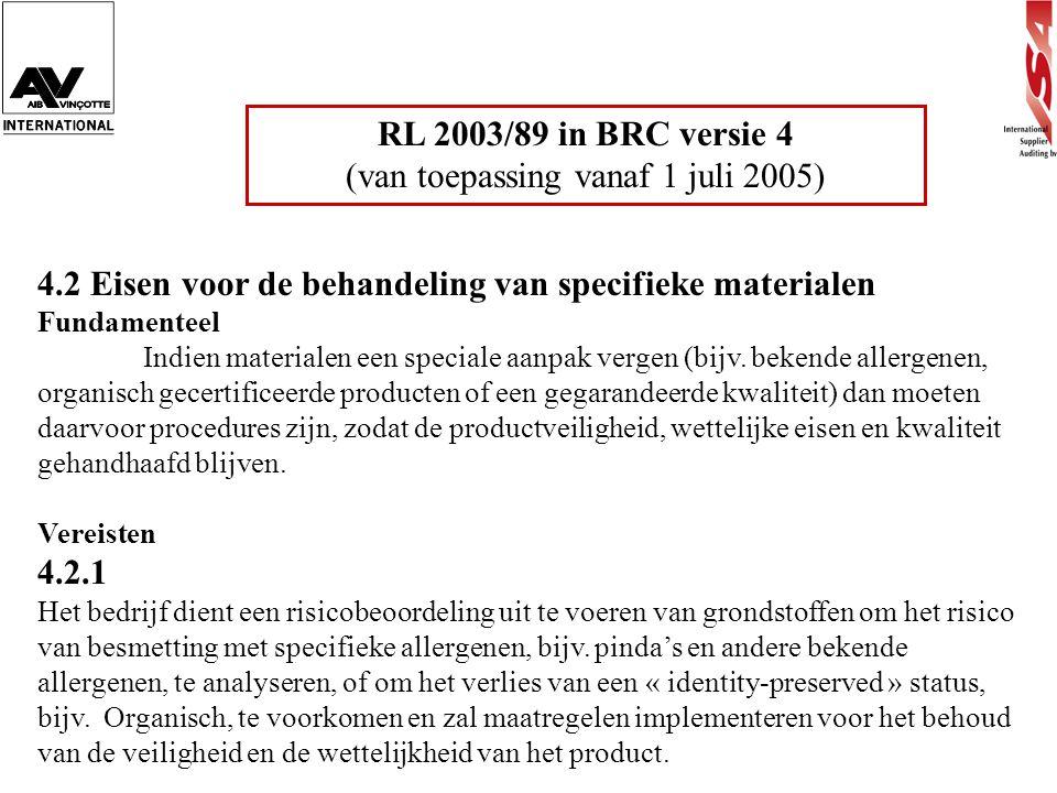 RL 2003/89 in BRC versie 4 (van toepassing vanaf 1 juli 2005) 4.2 Eisen voor de behandeling van specifieke materialen Fundamenteel Indien materialen e