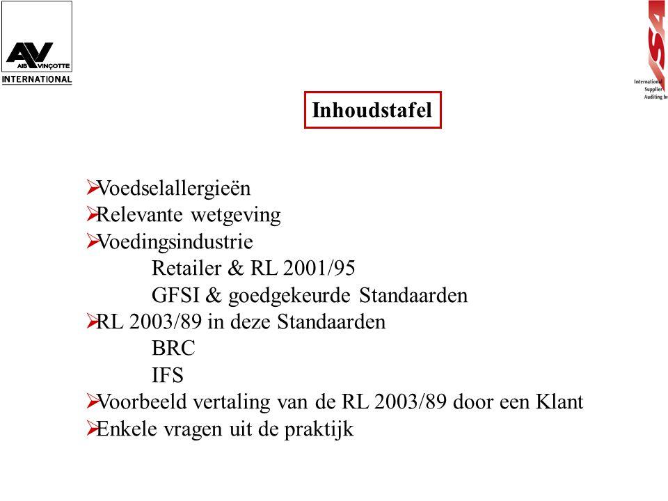 Inhoudstafel  Voedselallergieën  Relevante wetgeving  Voedingsindustrie Retailer & RL 2001/95 GFSI & goedgekeurde Standaarden  RL 2003/89 in deze