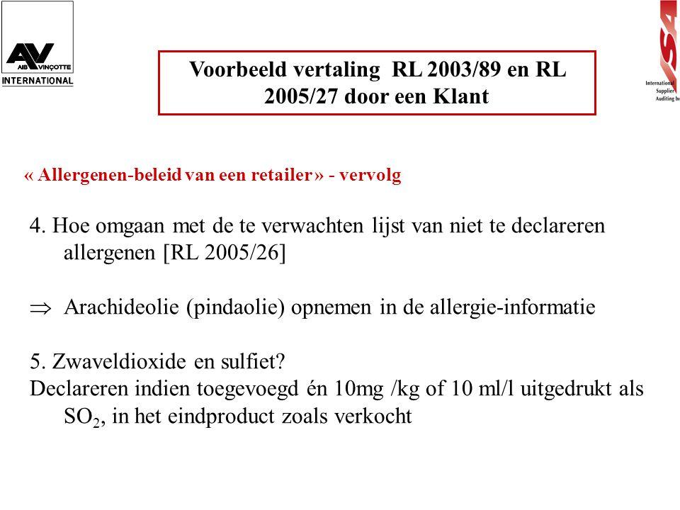 Voorbeeld vertaling RL 2003/89 en RL 2005/27 door een Klant « Allergenen-beleid van een retailer » - vervolg 4. Hoe omgaan met de te verwachten lijst