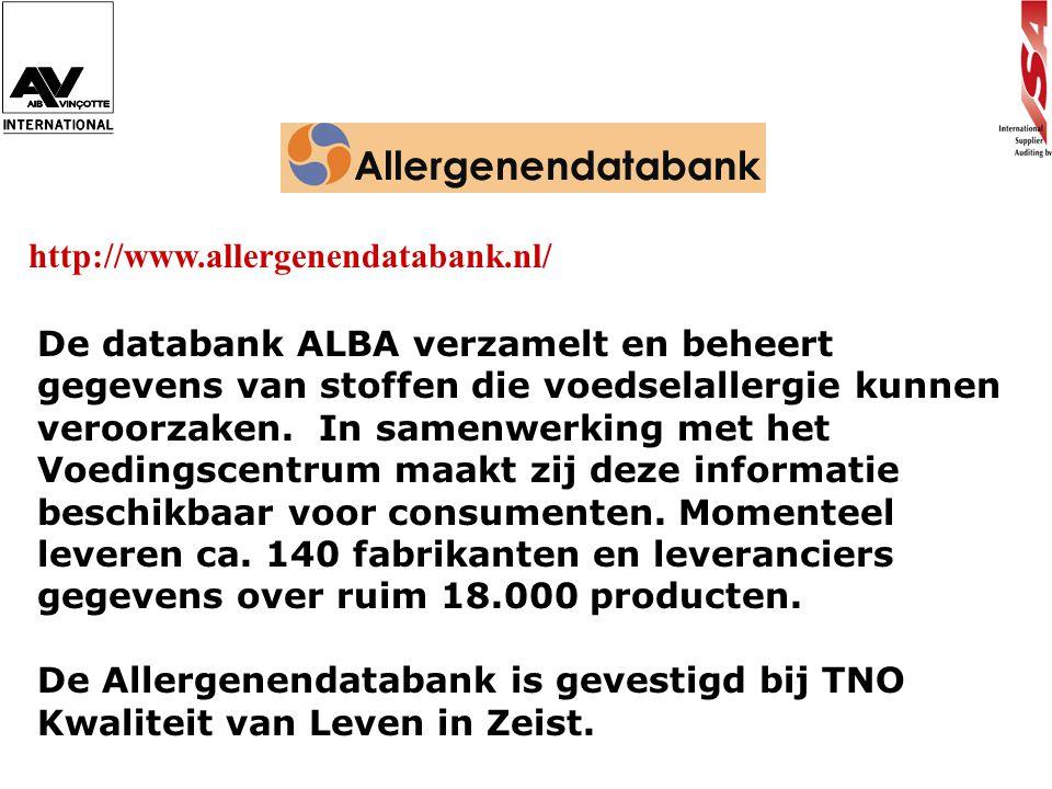 http://www.allergenendatabank.nl/ De databank ALBA verzamelt en beheert gegevens van stoffen die voedselallergie kunnen veroorzaken. In samenwerking m