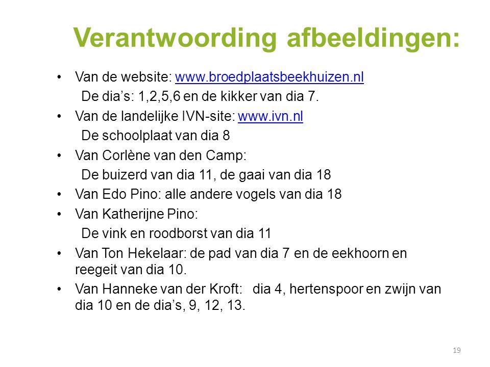 19 6 45 7 3 2 Verantwoording afbeeldingen: Van de website: www.broedplaatsbeekhuizen.nlwww.broedplaatsbeekhuizen.nl De dia's: 1,2,5,6 en de kikker van dia 7.