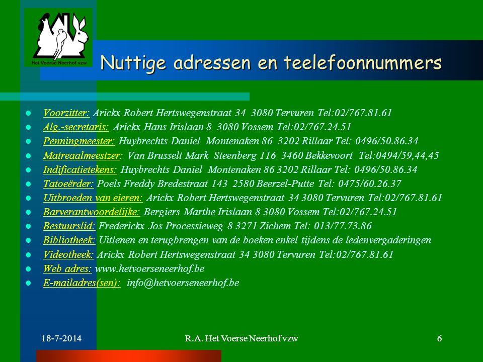 18-7-2014R.A. Het Voerse Neerhof vzw6 Nuttige adressen en teelefoonnummers Nuttige adressen en teelefoonnummers Voorzitter: Arickx Robert Hertswegenst