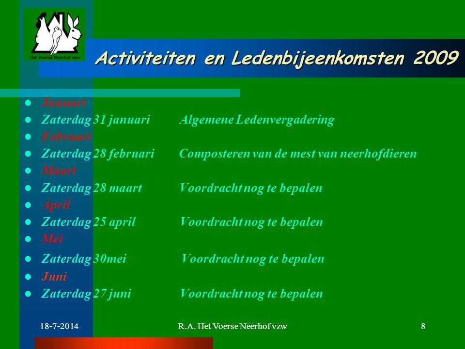 18-7-2014R.A. Het Voerse Neerhof vzw8 Activiteiten en Ledenbijeenkomsten 2009 Activiteiten en Ledenbijeenkomsten 2009 Januari Zaterdag 31 januari Alge