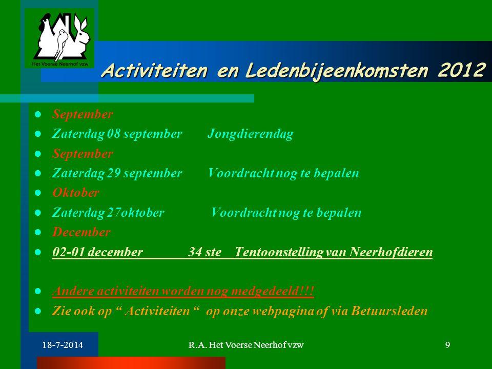 18-7-2014R.A. Het Voerse Neerhof vzw9 Activiteiten en Ledenbijeenkomsten 2012 Activiteiten en Ledenbijeenkomsten 2012 September Zaterdag 08 september