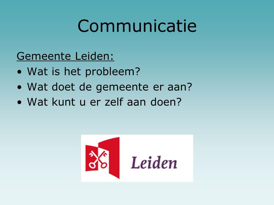 Communicatie Gemeente Leiden: Wat is het probleem? Wat doet de gemeente er aan? Wat kunt u er zelf aan doen?