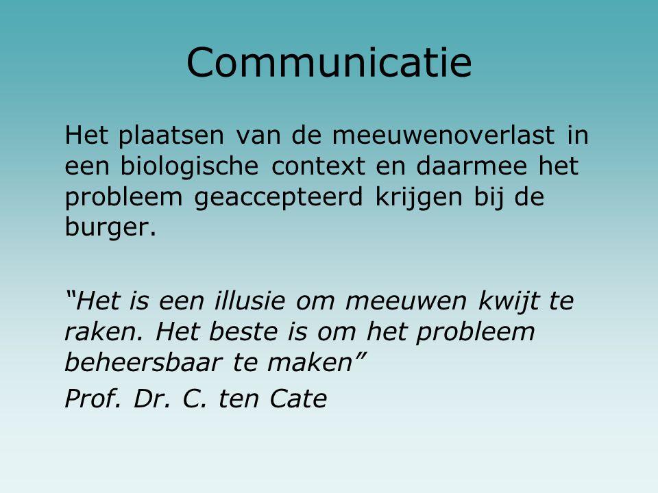 """Communicatie Het plaatsen van de meeuwenoverlast in een biologische context en daarmee het probleem geaccepteerd krijgen bij de burger. """"Het is een il"""