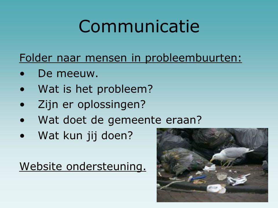 Communicatie Folder naar mensen in probleembuurten: De meeuw. Wat is het probleem? Zijn er oplossingen? Wat doet de gemeente eraan? Wat kun jij doen?