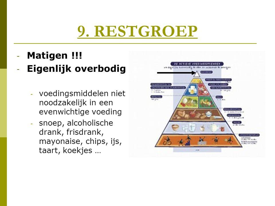 9. RESTGROEP - Matigen !!! - Eigenlijk overbodig - voedingsmiddelen niet noodzakelijk in een evenwichtige voeding - snoep, alcoholische drank, frisdra