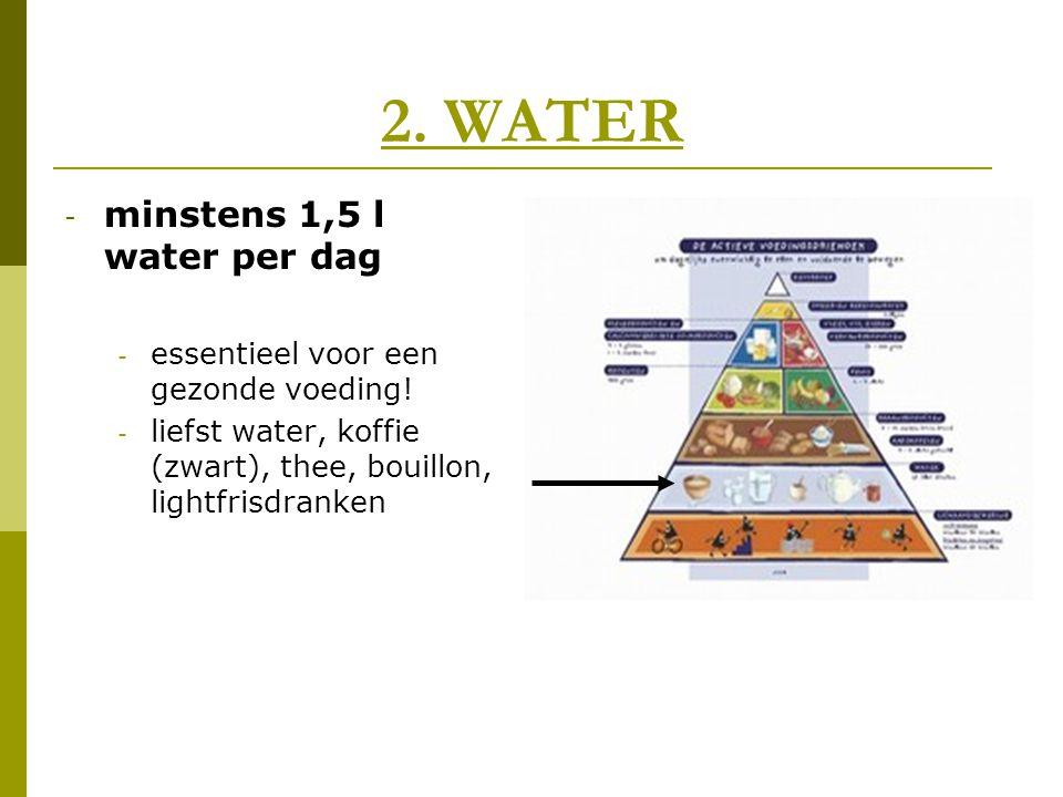 2. WATER - minstens 1,5 l water per dag - essentieel voor een gezonde voeding! - liefst water, koffie (zwart), thee, bouillon, lightfrisdranken