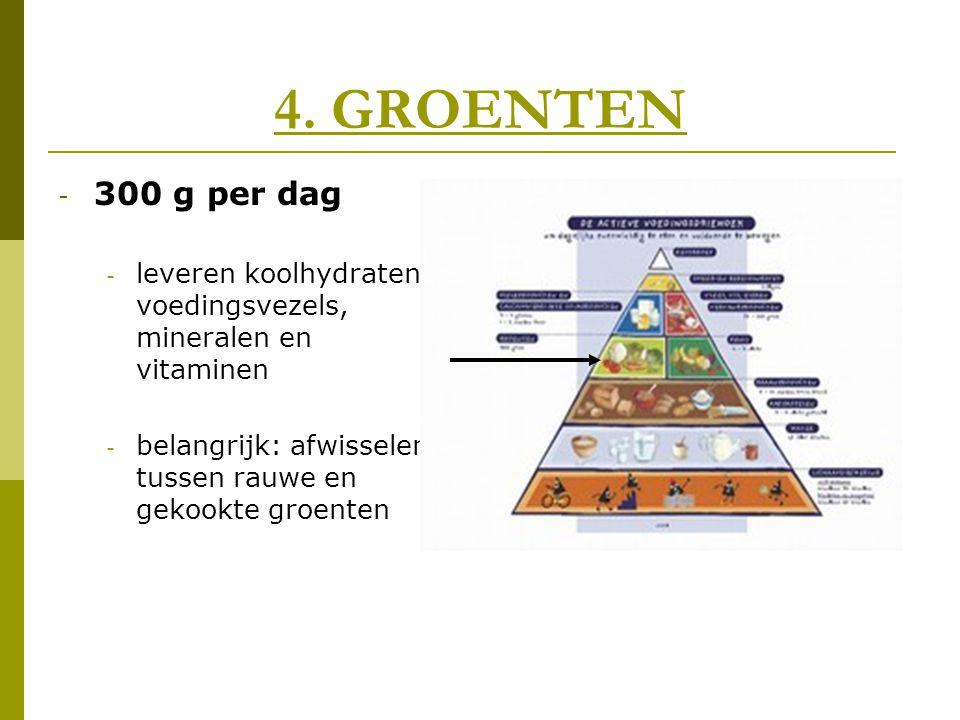 4. GROENTEN - 300 g per dag - leveren koolhydraten, voedingsvezels, mineralen en vitaminen - belangrijk: afwisselen tussen rauwe en gekookte groenten