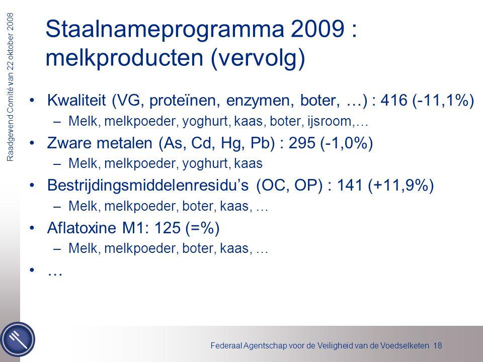 Federaal Agentschap voor de Veiligheid van de Voedselketen 18 Raadgevend Comité van 22 oktober 2008 Staalnameprogramma 2009 : melkproducten (vervolg)