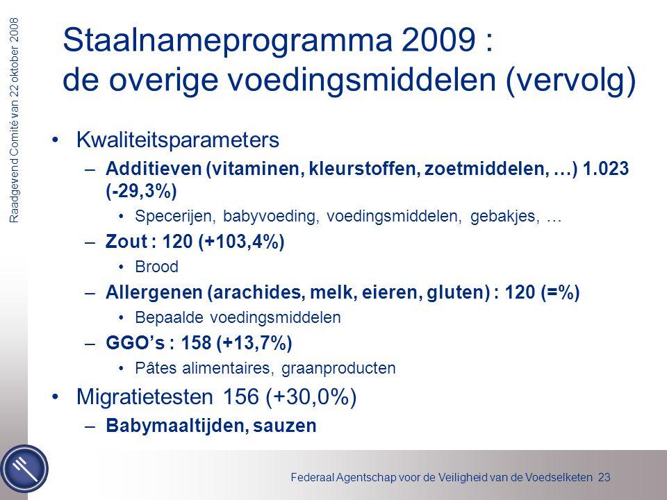 Federaal Agentschap voor de Veiligheid van de Voedselketen 23 Raadgevend Comité van 22 oktober 2008 Staalnameprogramma 2009 : de overige voedingsmidde
