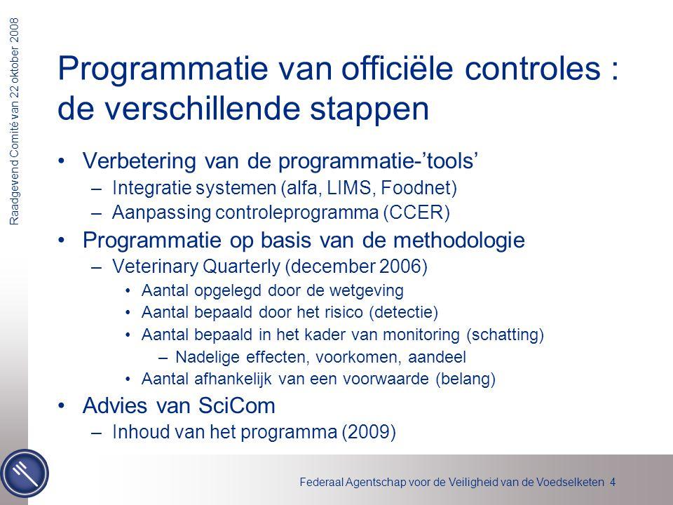 Federaal Agentschap voor de Veiligheid van de Voedselketen 4 Raadgevend Comité van 22 oktober 2008 Programmatie van officiële controles : de verschill