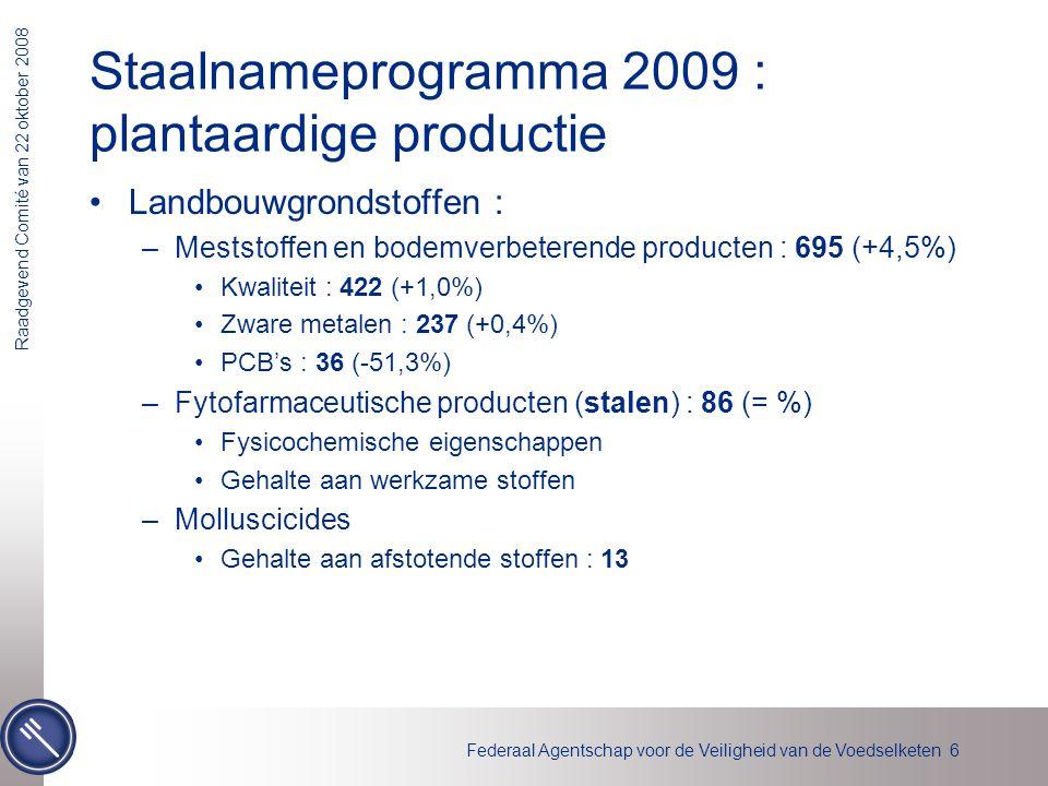 Federaal Agentschap voor de Veiligheid van de Voedselketen 6 Raadgevend Comité van 22 oktober 2008 Staalnameprogramma 2009 : plantaardige productie La