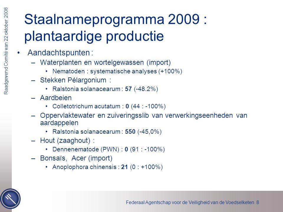 Federaal Agentschap voor de Veiligheid van de Voedselketen 8 Raadgevend Comité van 22 oktober 2008 Aandachtspunten : –Waterplanten en wortelgewassen (