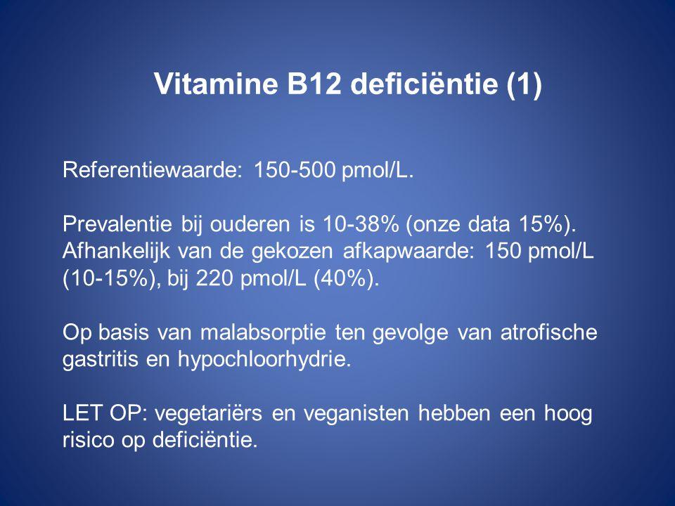 Vitamine B12 deficiëntie (1) Referentiewaarde: 150-500 pmol/L. Prevalentie bij ouderen is 10-38% (onze data 15%). Afhankelijk van de gekozen afkapwaar