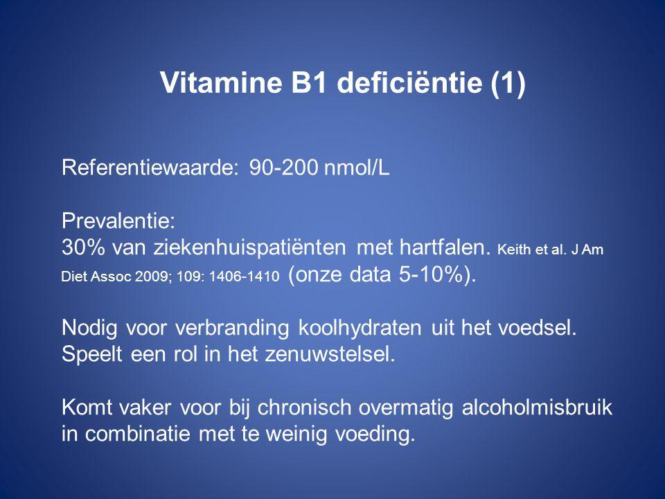 Vitamine B1 deficiëntie (1) Referentiewaarde: 90-200 nmol/L Prevalentie: 30% van ziekenhuispatiënten met hartfalen.