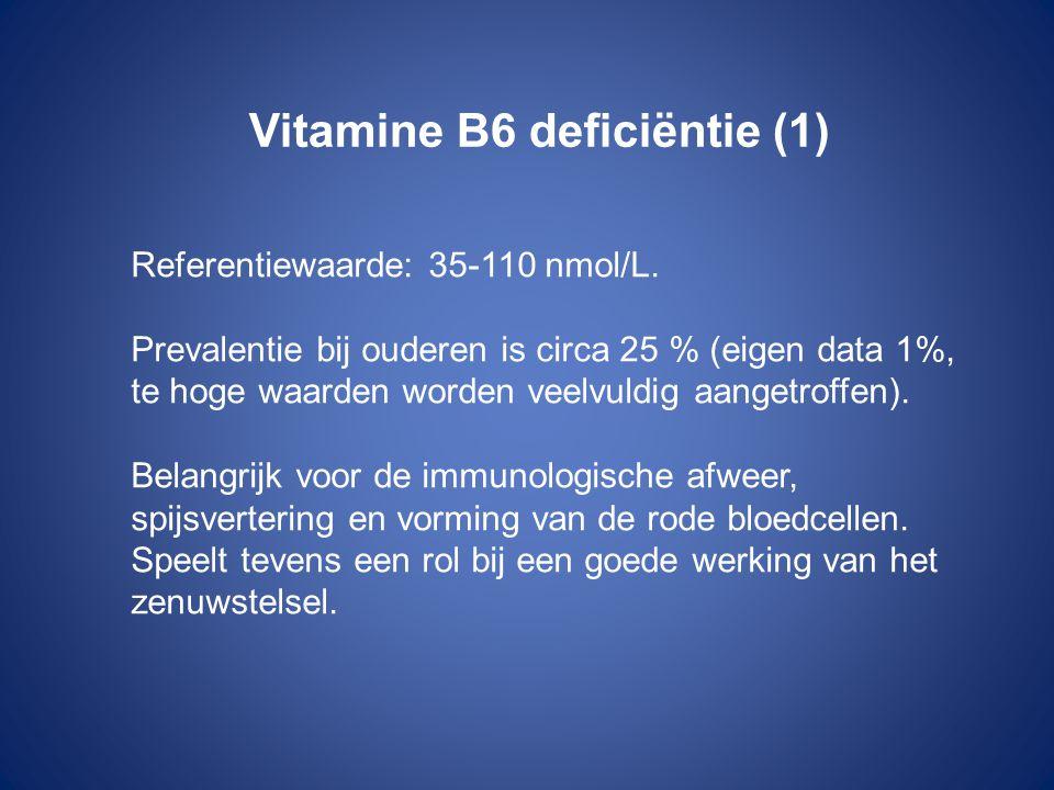 Vitamine B6 deficiëntie (1) Referentiewaarde: 35-110 nmol/L. Prevalentie bij ouderen is circa 25 % (eigen data 1%, te hoge waarden worden veelvuldig a