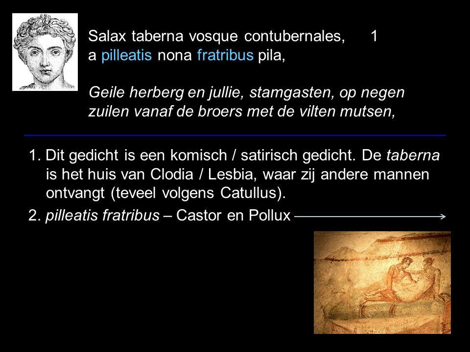 Salax taberna vosque contubernales,1 a pilleatis nona fratribus pila, Geile herberg en jullie, stamgasten, op negen zuilen vanaf de broers met de vilten mutsen, 1.