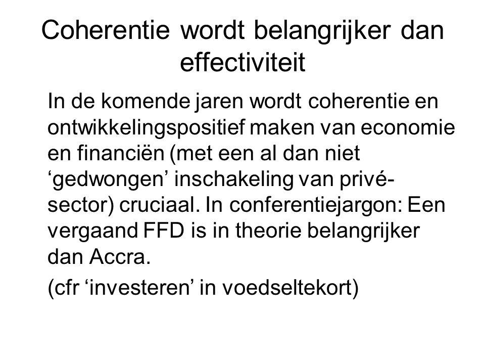 Coherentie wordt belangrijker dan effectiviteit In de komende jaren wordt coherentie en ontwikkelingspositief maken van economie en financiën (met een