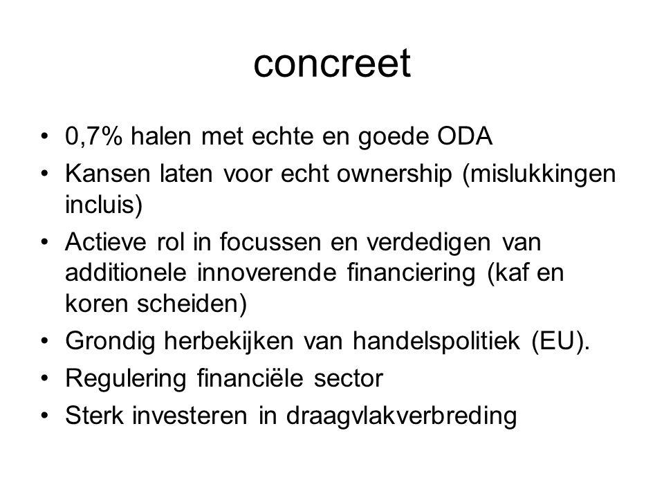 concreet 0,7% halen met echte en goede ODA Kansen laten voor echt ownership (mislukkingen incluis) Actieve rol in focussen en verdedigen van additione
