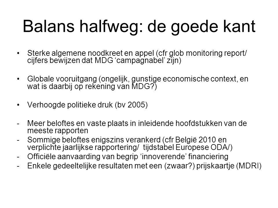 Balans halfweg: de goede kant Sterke algemene noodkreet en appel (cfr glob monitoring report/ cijfers bewijzen dat MDG 'campagnabel' zijn) Globale voo