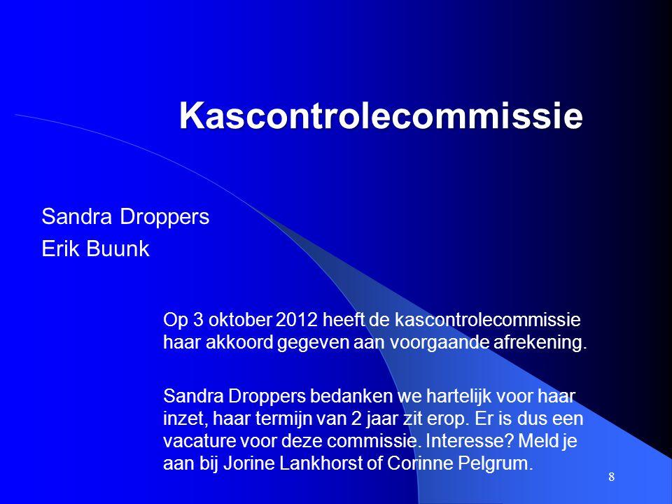 Kascontrolecommissie Sandra Droppers Erik Buunk 8 Op 3 oktober 2012 heeft de kascontrolecommissie haar akkoord gegeven aan voorgaande afrekening. Sand